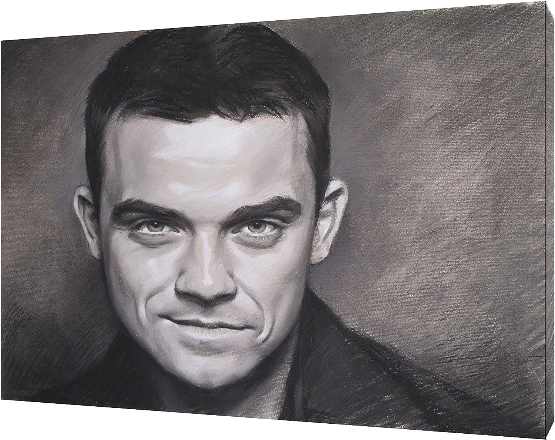 Robbie Williams mit anthrazit Soft Pastel Kunstdruck Kunstdruck Kunstdruck auf gerahmter Leinwand Art Wand, 24 x 20inch - 18mm depth B077ZFR1VC fa3cb7