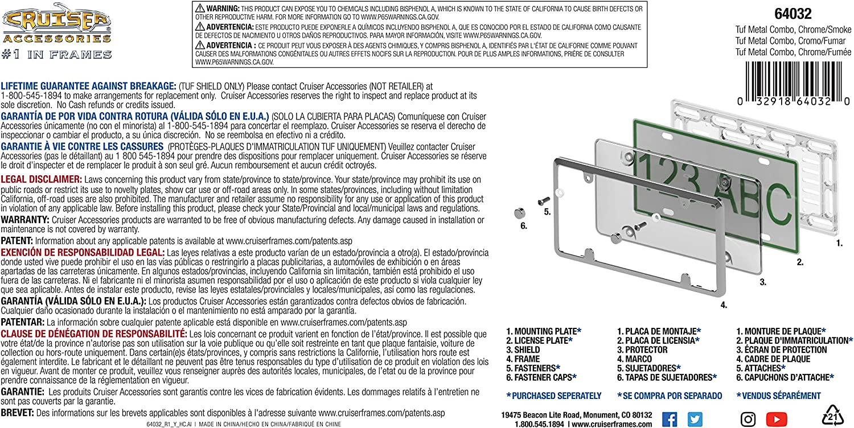 Black//Smoke Cruiser Accessories 64052 Tuf Metal Combo License Plate Frame Shield//Cover