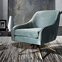 Safavieh SFV4703A Home Collection Tiffany Pleated Swivel Seafoam Arm Accent Chair Gold