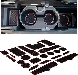 CupHolderHero for Honda Civic Accessories 2016-2021 Premium Custom Interior Non-Slip Anti Dust Cup Holder Inserts, Center Console Liner Mats, Door Pocket Liners 21-pc Set (Sedan) (Red Trim)