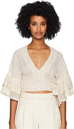 Embroidered Voile Wrap Flutter Sleeve Top