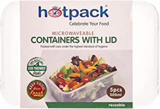 Hotpack Disposable Rectangular Microwaveable Container - 1000ml-5 Pcs