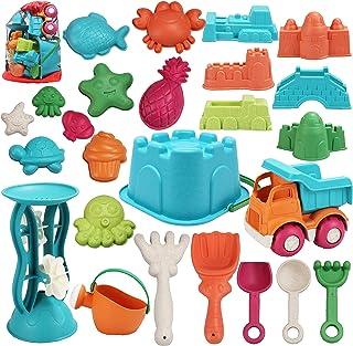 JOYIN 25 Pieces Beach Sand Toys Set with Mesh Bag Including Bucket, Car, Shovels, Rakes, Watering Can, Molds for Kids Summer Outdoor Beach Fun