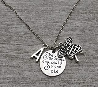 Personalized Lacrosse Necklace with Letter Charm, Custom She Believed She Could So She Did Lax Jewelry, Gifts for Girl Lacrosse Players, Teams & Coaches