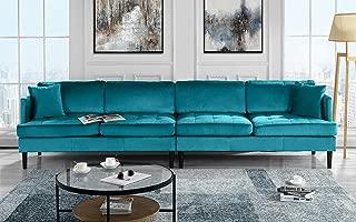 Mid Century Modern Extra Large Velvet Sofa, Living Room Couch (Blue)