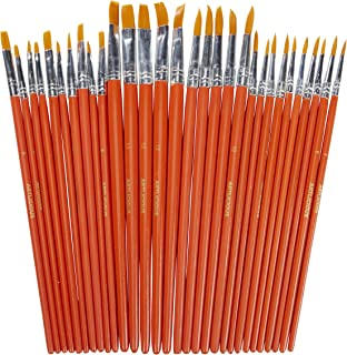 Artlicious - 30 All Purpose Golden Taklon Classroom Paint Brush Value Pack - Great with Acrylic, Oil, Watercolor, Gouache