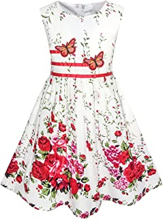 b21ec4275286 Sunny Fashion Girls Dress Rose Flower Double Bow Tie Party Sundress