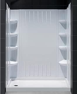 DreamLine DL-6145L-01 SlimLine 30-Inch by 60-Inch Single Threshold Shower Base Left Hand Drain and QWALL-3 Shower Back Walls Kit