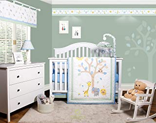 GEENNY OptimaBaby Safari Jungle Animals 6 Piece Baby Nursery Crib Bedding Set