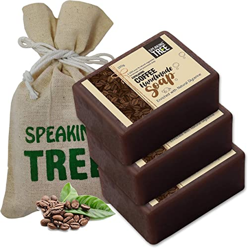 Speaking Tree Exfoliating Coffee Handmade Soap with Refreshing Aroma for Perfectly Clean, Brightening Skin (Pack of 3)