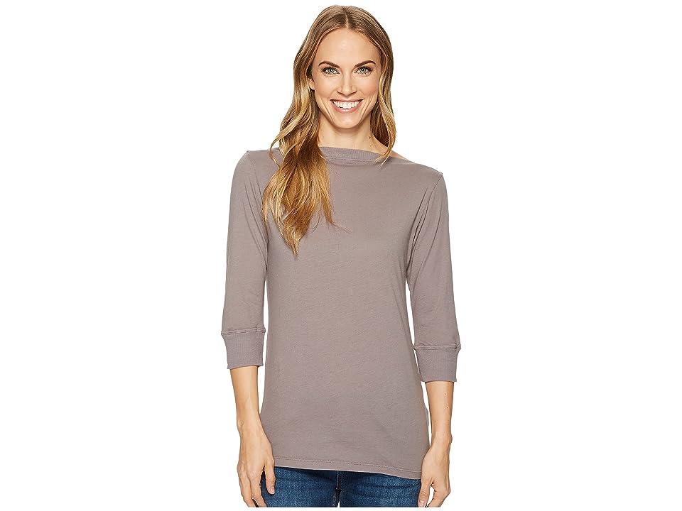 Image of Allen Allen 3/4 Sleeve Boat Neck (Medium Grey) Women's Clothing