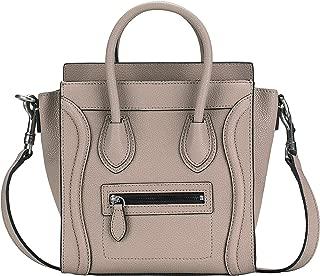 Women's Genuine Leather Small Handbag Smile Pattern Top Handle Bags Crossbody Bags