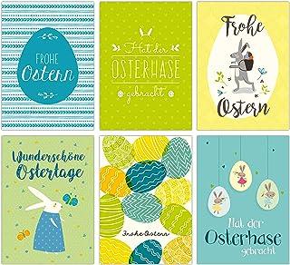 Papierdrachen Zestaw kartek wielkanocnych niebiesko-zielonych – 12 starannie zaprojektowanych kartek pocztowych na Wielkan...