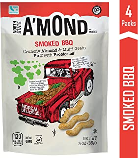 Smoked BBQ Snack Puffs by A'mond Snacks, 4 Pack, 3 oz Each, Almond and Ancient Grain Plant-Based Blend, Gluten-Free and Non-GMO