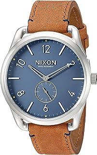 Nixon Men's A4652186 C45 Leather Analog Display Swiss Quartz Brown Watch