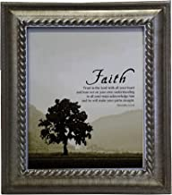 VERSERIES - Faith Picture Frame - Christian Gift and Art - Canvas Photo Frame - Bible Verse Gift - Choose Your Design (Rustic Silver Frame, Set of 1)
