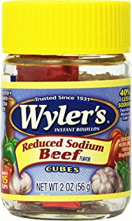 Wyler's Instant Beef Bouillon Reduced Sodium Cubes (2 oz Jars, Pack of 8)