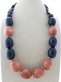 Collana in legno marrone e nero, collana etnica, gioielli contemporanei, bijoux moderni, creazioni artigianali, accessori ...