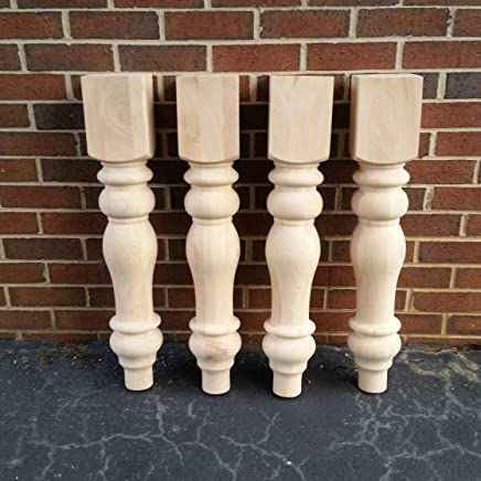 Chunky Unfinished Farmhouse Dining Table Legs Set Of 4 Turned Design 59 Inc