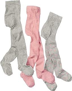 wellyou baby/kinder strumpfhosen für mädchen, baby-strumpfhose/kinder-strumpfhose rosa, grau mit Punkten, hoher Baumwoll-Anteil 3er set gr 62-146
