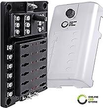 10 Way Fuse Block with Ground Negative Bus for Automotive [Dual Positive Inputs] [12V - 32V DC] [200 Amp] [ATC/ATO Fuses] [LED Indicator] [Corrosion Resistant] Auto Marine Fuse Box