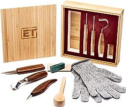 ابزارهای ابتدایی مجموعه حک شده از چوب 9pc - چاقوی حک شده قلاب قلاب ، چاقو ویتینگ و جزئیات چاقوی چوبی برای قاشق ، کاسه ، فنجان Kuksa یا کارهای چوبی عمومی - دستکش مقاوم در برابر برش و جعبه هدیه بامبو