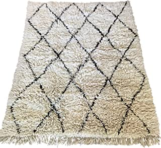 Authentic Moroccan Beni Ourain Berber Oriental Carpet, 100% Handwoven Naturally Dyed Tribal Wool Rug 8x10 Feet