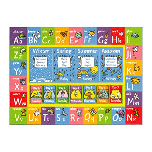 """KC Cubs Playtime Collection ABC Alphabet, Seasons, Months and Days of The Week Educational Learning Area Rug Carpet for Kids and Children Bedrooms and Playroom (5' 0"""" x 6' 6"""")"""
