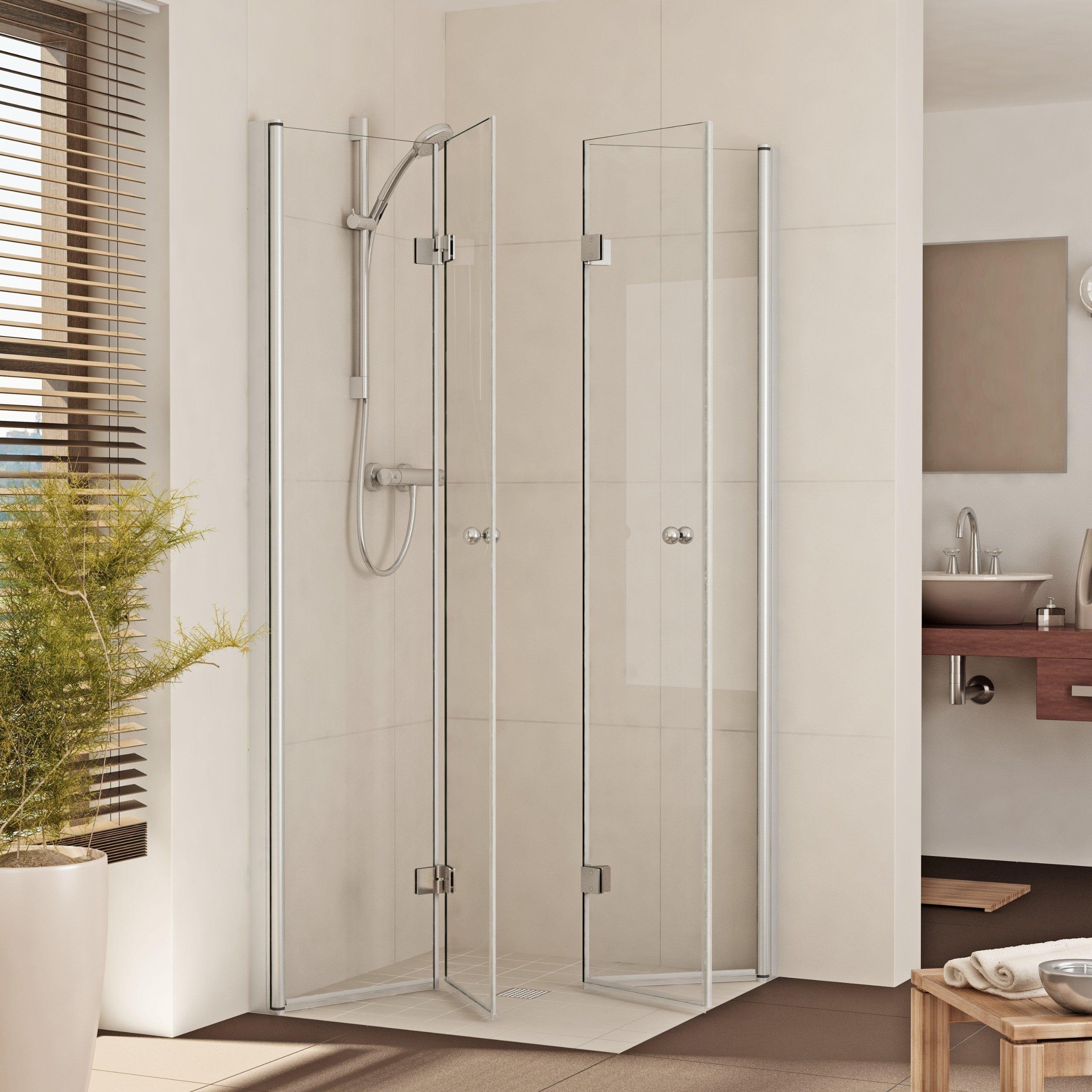 Mampara de ducha plegable ducha drehfalt Puerta esquina. esquina ducha de cristal b: 90 – 120 cm de misma Precio. H: 185/200 cm: Amazon.es: Hogar