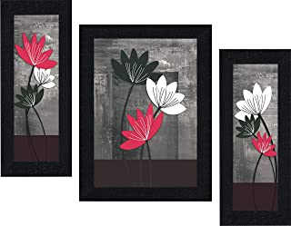 SAF UV Textured Flower Print Framed Painting Set of 3 for Home Decoration – Size 35 x 2 x 50 cm SANFOS71
