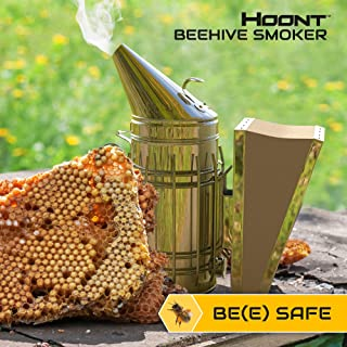 Hoont Commercial Grade Bee Smoker for Beekeeping – Heavy Duty Stainless Steel with Metal Heat Shield and Metal Hook – Superior Airflow Bellow and Excellent Smoke Output