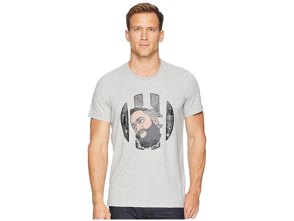 adidas Harden Geeked Up Head Tee (Medium Grey Heather/Black) Men's T Shirt