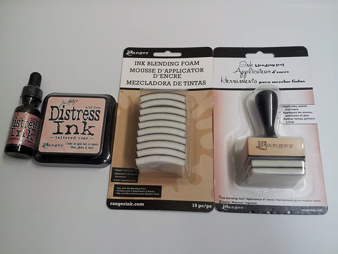 Ranger Tim Holtz Distress Rubber Stamp Ink Pad with Re-inker refill ink bottle Tattered Rose & Inkssentials Ink Blending tool with 10 ink blending tool foam refills replacement Bundle
