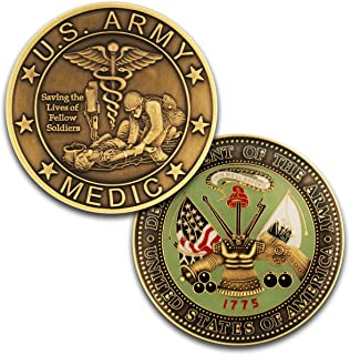 Army Medic Challenge Coin, Unreal 3D US Army Military Coin. Designed by Military Veterans! Officially Licensed! Amazing Army Medic Custom Coin!
