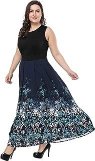 floral round neck sleeveless maxi dress