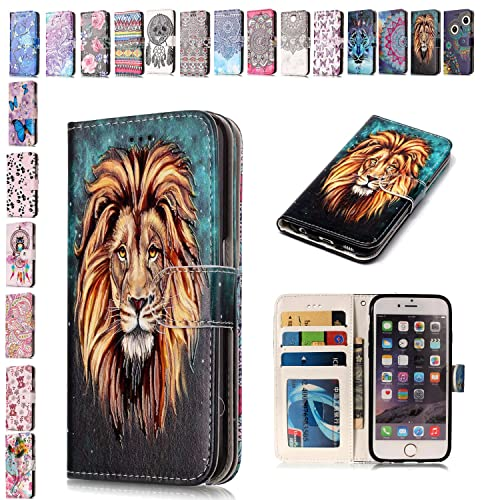 E-Mandala Apple iPhone 5 5S SE Case Lion PU Leather Flip Case Wallet Cover with card holder kickstand Shell Soft TPU Silicone Bumper Cover