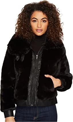 Fake Fur Jacket with Vegan Leather Detail in Black Noise