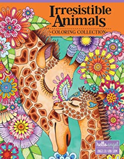 Hello Angel Irresistible Animals Coloring Collection (Design Originals) 32 Adorable Designs include Cats, Dogs, Owls, Otters, Sloths, Elephants, Koalas, Foxes, Giraffes, Llamas, Bunnies, and More