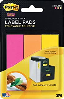 Post-it Super Sticky Removable Label Pads, 1 x 3 Inches, Fushia, Orange, and Yellow, 75 Labels per pack (3 Pads) (2900-FOY)