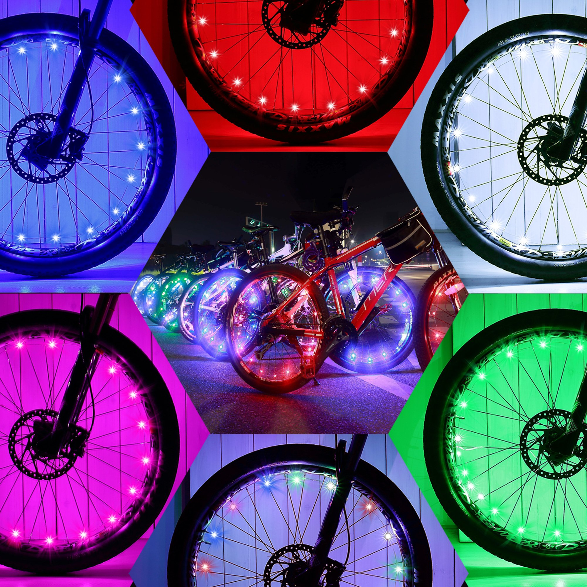 LE Bike Wheel Lights Bicycle Spoke Lights RGB Waterproof Pack of 2 Units Used for Safety and Warning 3 Light Mode Options