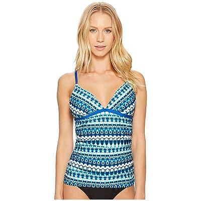 Jantzen Tie-Dye Geo Stripe Tankini Top (Night Ocean) Women