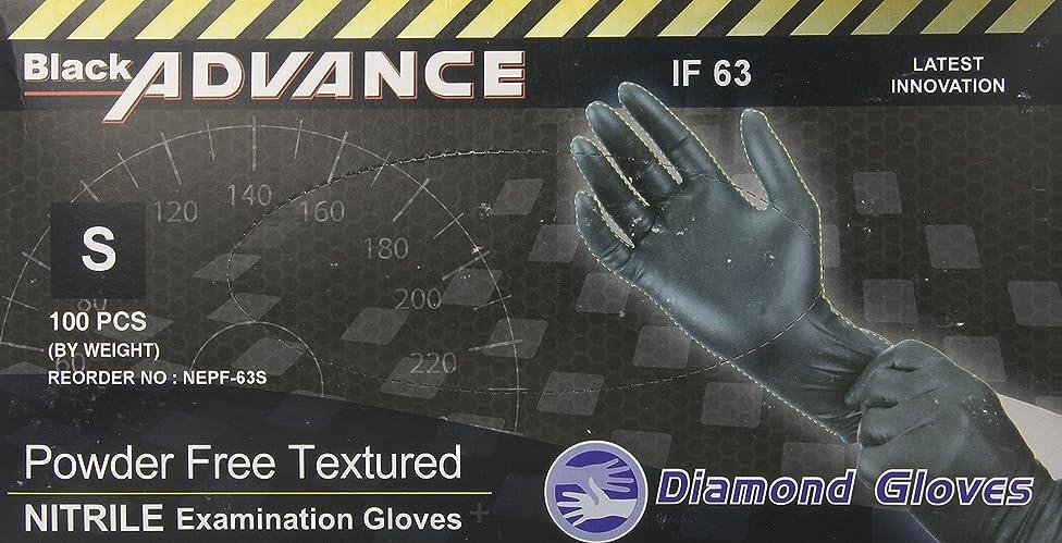 Diamond Gloves Black Advance Nitrile Examination Powder-Free Gloves, Heavy Duty, Small, 100 Count