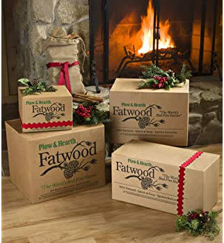 Plow & Hearth Boxed Fatwood Fire Starter All Natural Organic Resin Rich Eco Friendly Kindling Sticks for Wood Stoves ...