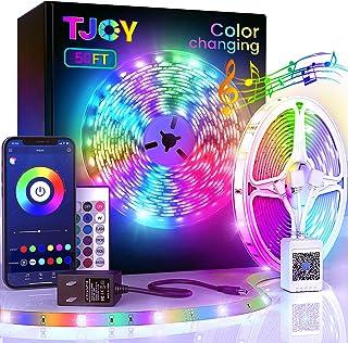 50ft Bluetooth LED Strip Lights, SMD5050 Music Sync LED Lights Strip,RGB Color Changing LED Lights with Remote, Smart Phon...