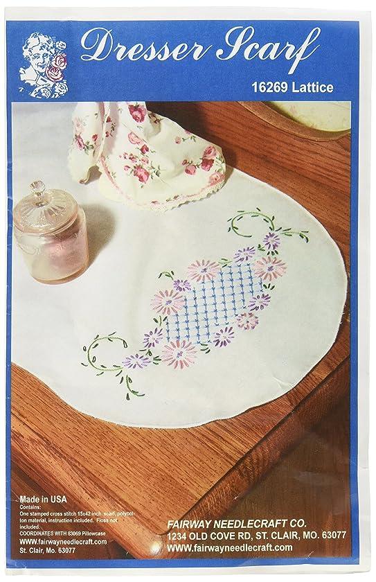 Fairway 16269 Dresser Scarf, Lattice Design, White, Perle Edge