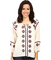 Stetson - Cream Cotton Gauze Peasant Blouse