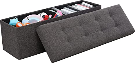 Ornavo Home  Foldable Tufted Linen Large Storage Ottoman Bench Foot Rest Stool/Seat - 15 x 45 x 15 (Charcoal)