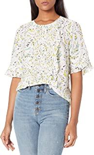 Lucky Brand Women's Short Sleeve Crew Neck Skylar Pintuck Top