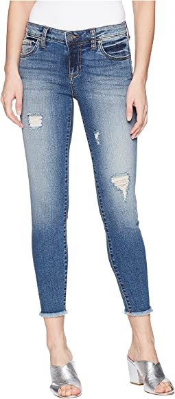 KUT from the Kloth Connie Ankle Skinny Jeans w/ Fray Hem in Galvanized/Medium Base Wash
