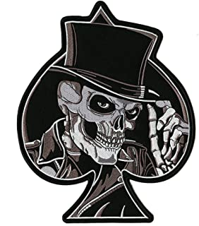 Skeleton Spade Top Hat Large Skull Embroidered Patch- By Nixon Thread Co. (10